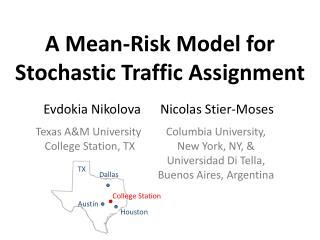 A Mean-Risk Model for  Stochastic Traffic Assignment