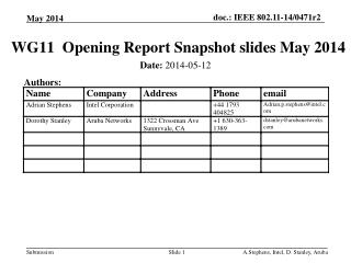 WG11   Opening  Report  Snapshot slides May 2014