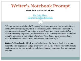 Writer's Notebook Prompt