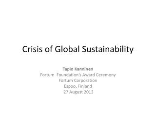 Crisis of Global Sustainability