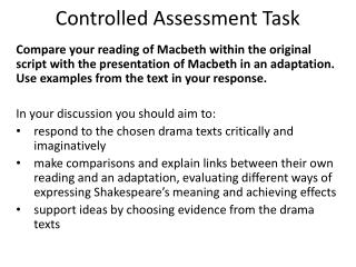 Controlled Assessment Task