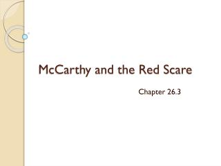 McCarthy and the Red Scare
