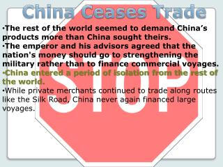 China Ceases Trade
