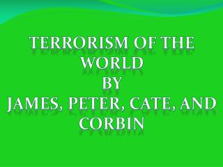 Terrorism of the world By James, Peter,  Cate , and Corbin