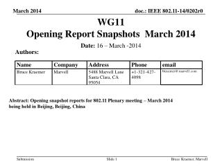 WG11   Opening Report Snapshots  March 2014