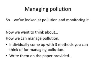 Managing pollution