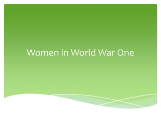 Women in World War One