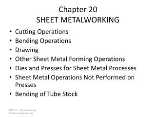 Chapter 20 SHEET METALWORKING