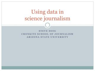 Using data in  science journalism