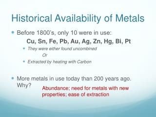 Historical Availability of Metals
