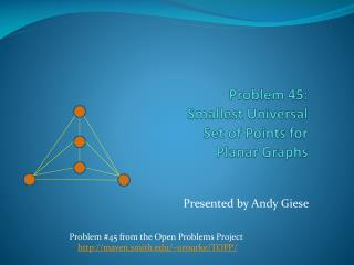 Problem 45: Smallest Universal Set of Points for Planar Graphs