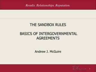 THE SANDBOX RULES  BASICS OF INTERGOVERNMENTAL AGREEMENTS
