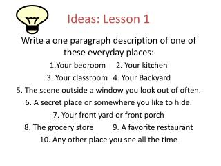 Ideas: Lesson 1