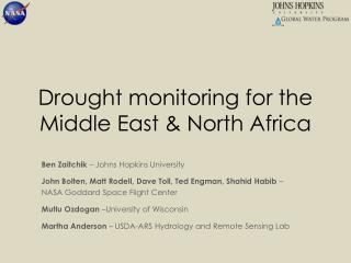 Drought monitoring for the Middle East & North Africa
