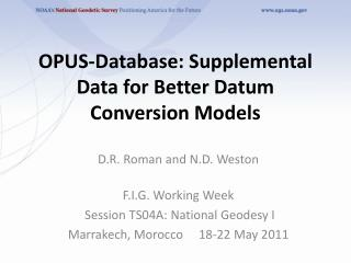 OPUS-Database: Supplemental Data for Better Datum Conversion Models