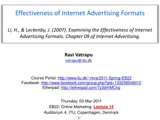 Effectiveness of Internet Advertising Formats
