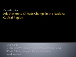 Adaptation to Climate Change in the National Capital Region