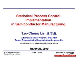 Statistical Process Control Implementation  in Semiconductor Manufacturing