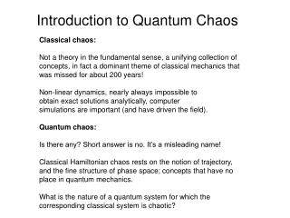 Introduction  to Quantum Chaos
