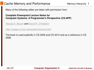 Cache  Memory and Performance