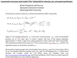 "A parametric hurricane wind model (""Fitz"" Holland B) for intensity, size, and speed specification"