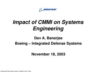 Impact of CMMI on Systems Engineering