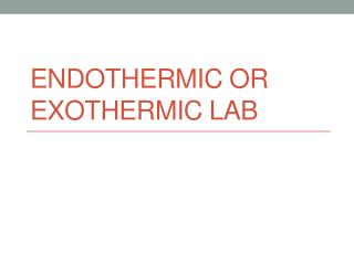 Endothermic or Exothermic Lab