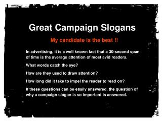Great Campaign Slogans