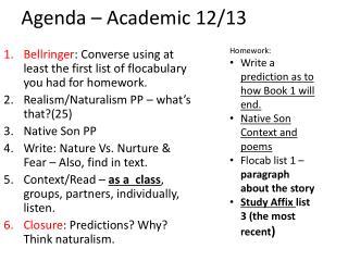 Agenda – Academic 12/13