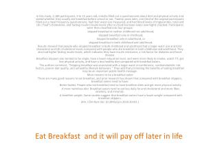 Eat Breakfast and it will pay off later in life