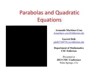Parabolas and Quadratic Equations