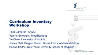 Curriculum Inventory  Workshop