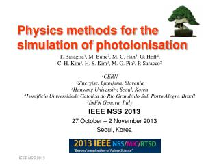 Physics methods for the simulation of  photoionisation