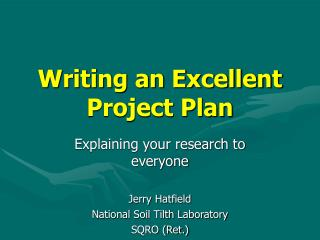 Writing an Excellent Project Plan