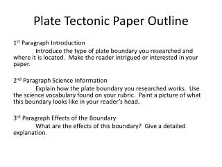 Plate Tectonic Paper Outline