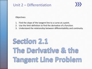Section 2.1 The Derivative & the Tangent Line Problem