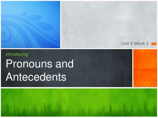Introducing Pronouns and Antecedents
