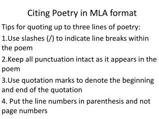 Citing Poetry in MLA format