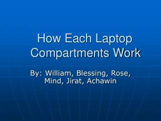 How Each Laptop     Compartments Work