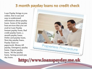 3 month payday loans no credit check
