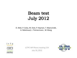 Beam test  July 2012
