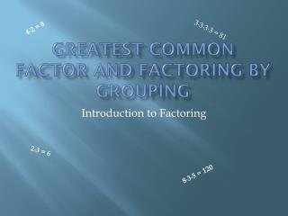 Greatest Common Factor and Factoring by Grouping