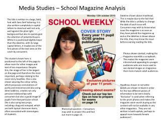 Media Studies – School Magazine Analysis