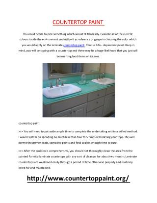 Deciding on Prudent Programs Of countertop paint