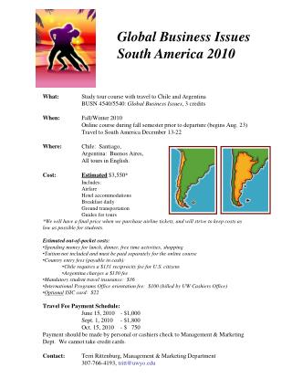 Global Business Issues  South America 2010