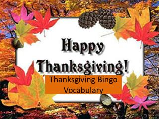 Thanksgiving Bingo Vocabulary