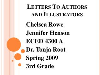 Letters To Authors and Illustrators
