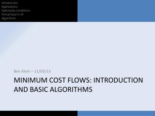 Minimum cost flows: Introduction and basic algorithms