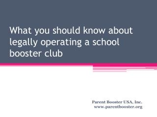What you should know about legally operating a school booster club
