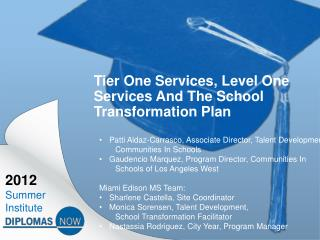 Tier One Services, Level One Services And The School Transformation Plan